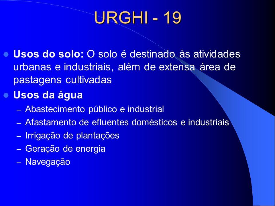 URGHI - 19 Usos do solo: O solo é destinado às atividades urbanas e industriais, além de extensa área de pastagens cultivadas.