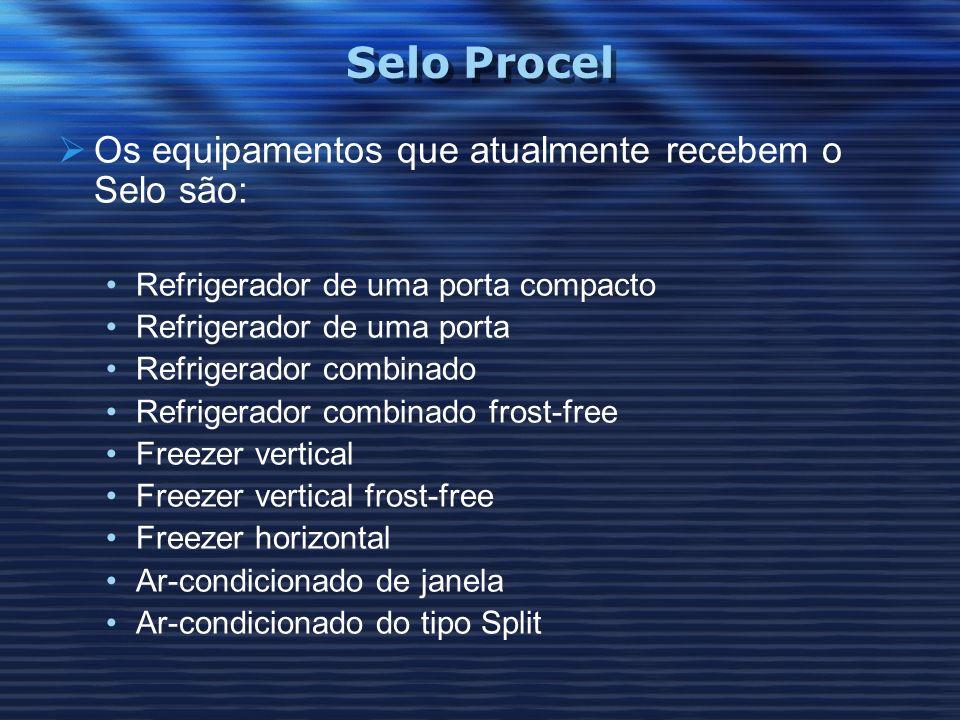Selo Procel Os equipamentos que atualmente recebem o Selo são: