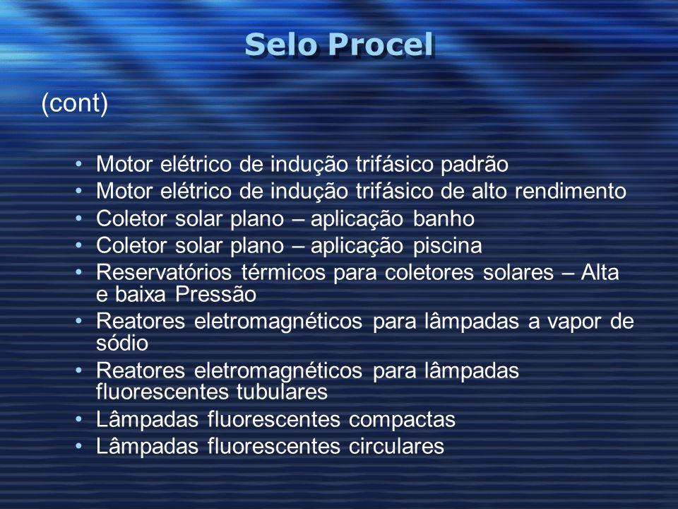 Selo Procel (cont) Motor elétrico de indução trifásico padrão