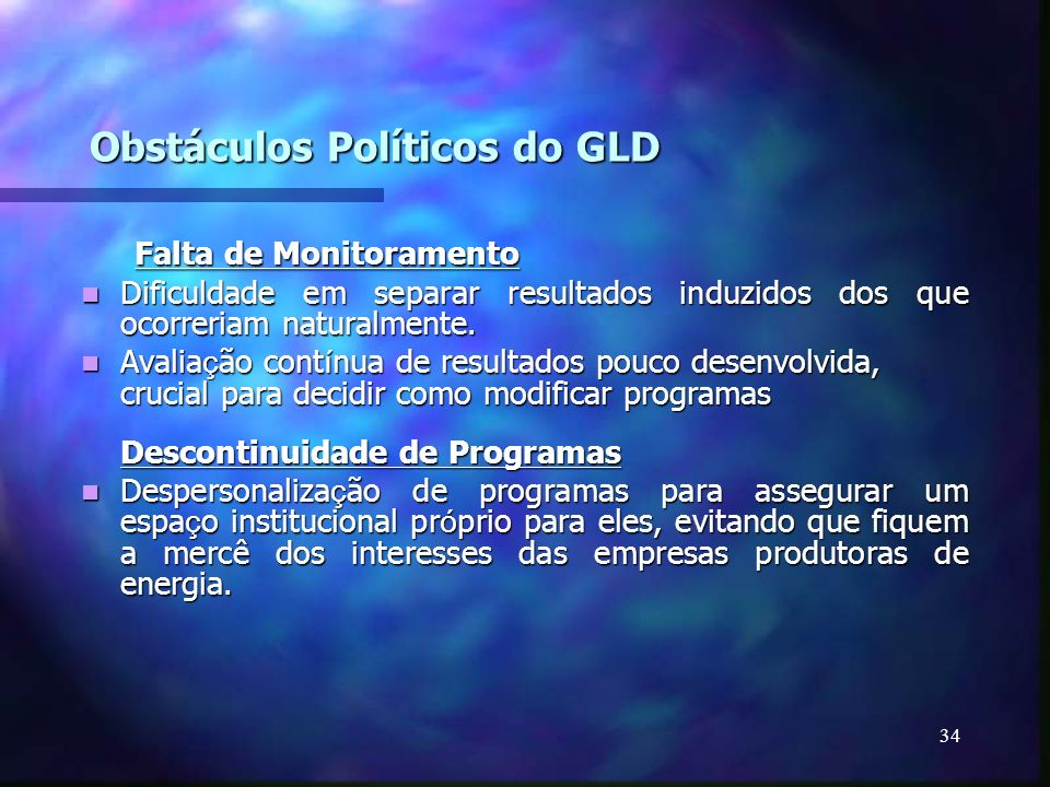 Obstáculos Políticos do GLD