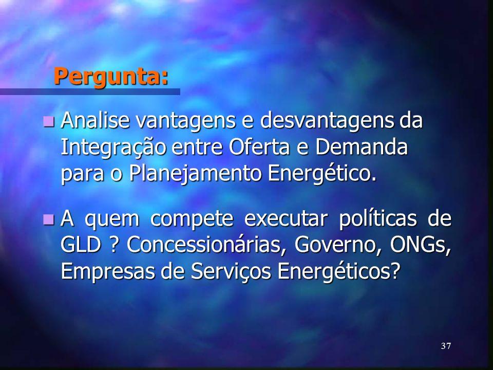 Pergunta: Analise vantagens e desvantagens da Integração entre Oferta e Demanda para o Planejamento Energético.