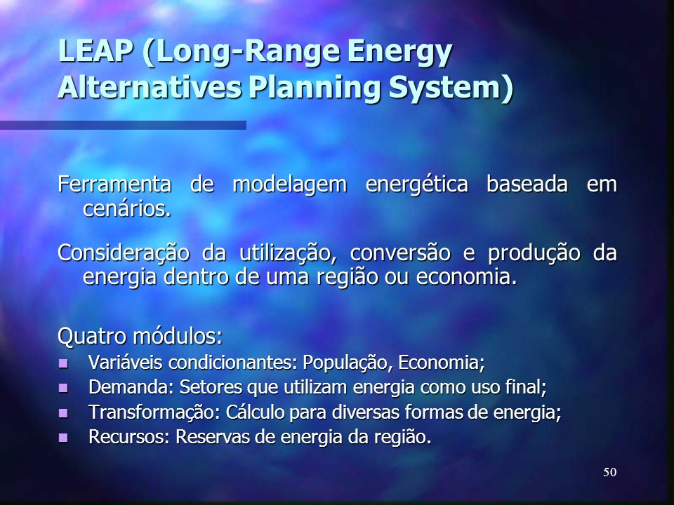 LEAP (Long-Range Energy Alternatives Planning System)