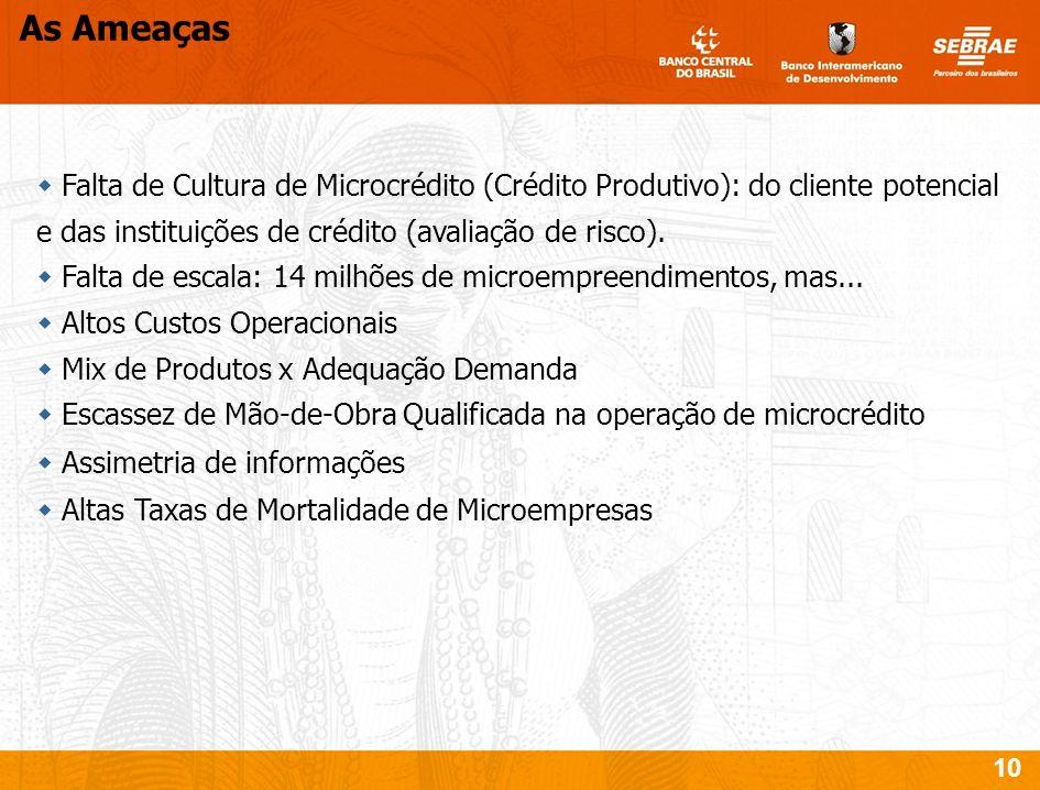 As AmeaçasFalta de Cultura de Microcrédito (Crédito Produtivo): do cliente potencial e das instituições de crédito (avaliação de risco).