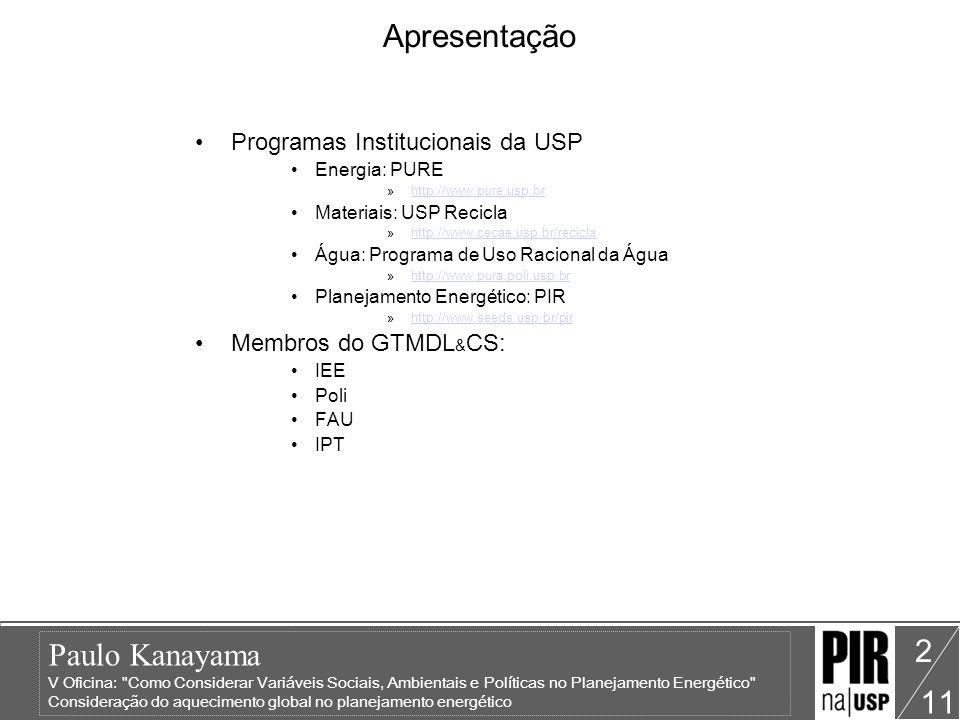 Apresentação Programas Institucionais da USP Membros do GTMDL&CS: