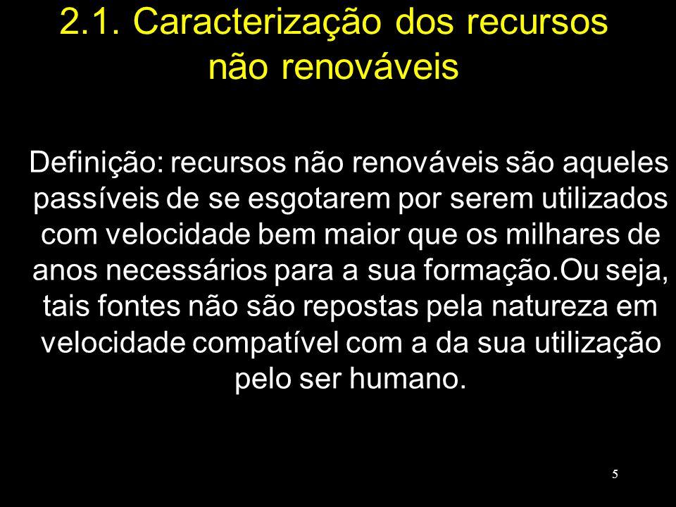 2.1. Caracterização dos recursos não renováveis