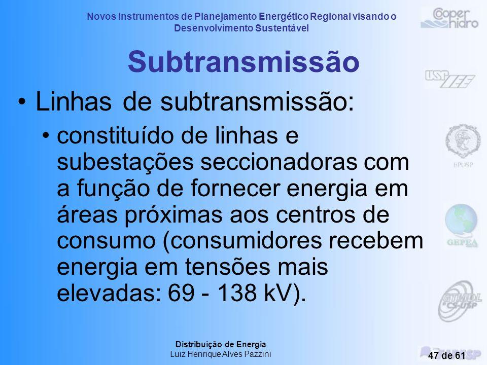 Subtransmissão Linhas de subtransmissão: