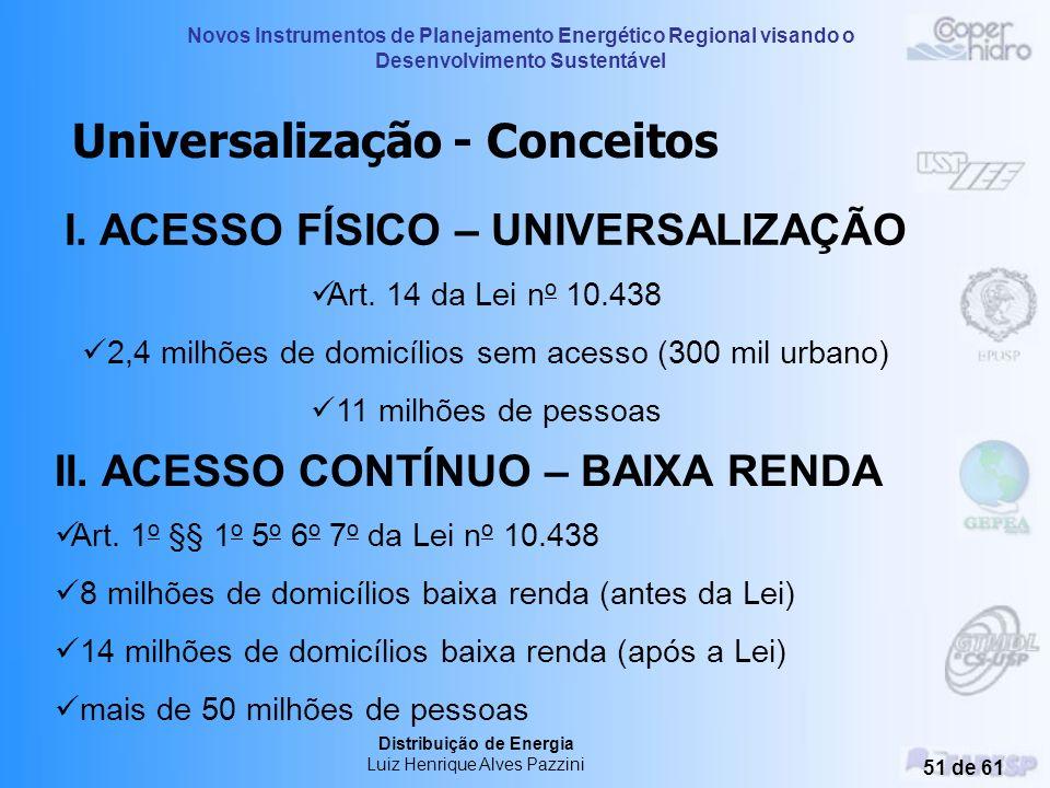 I. ACESSO FÍSICO – UNIVERSALIZAÇÃO