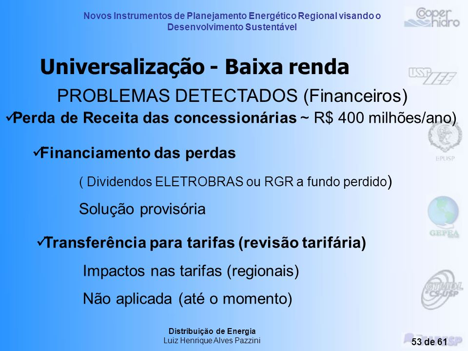 Universalização - Baixa renda