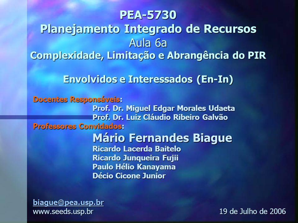 PEA-5730 Planejamento Integrado de Recursos Aula 6a Complexidade, Limitação e Abrangência do PIR Envolvidos e Interessados (En-In)