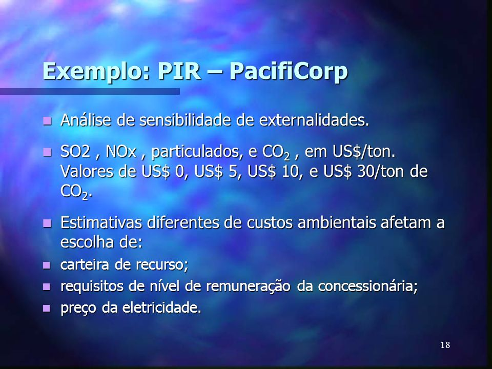 Exemplo: PIR – PacifiCorp