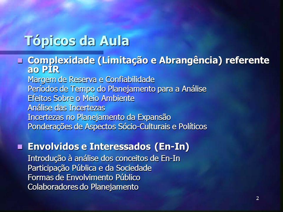 Tópicos da AulaComplexidade (Limitação e Abrangência) referente ao PIR. Margem de Reserva e Confiabilidade.