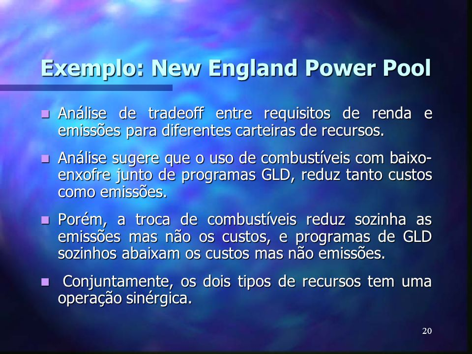 Exemplo: New England Power Pool
