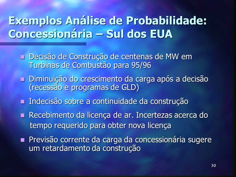 Exemplos Análise de Probabilidade: Concessionária – Sul dos EUA