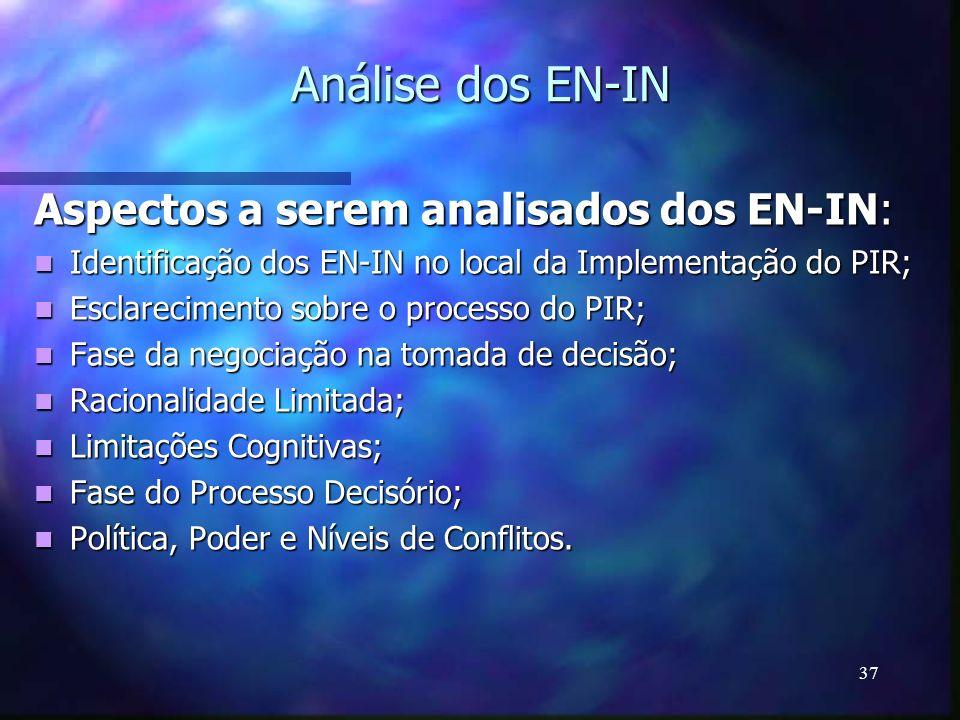 Análise dos EN-IN Aspectos a serem analisados dos EN-IN: