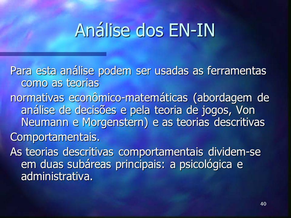 Análise dos EN-IN Para esta análise podem ser usadas as ferramentas como as teorias.