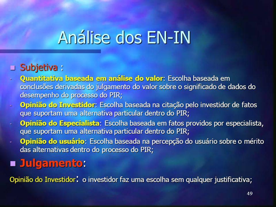 Análise dos EN-IN Julgamento: Subjetiva :
