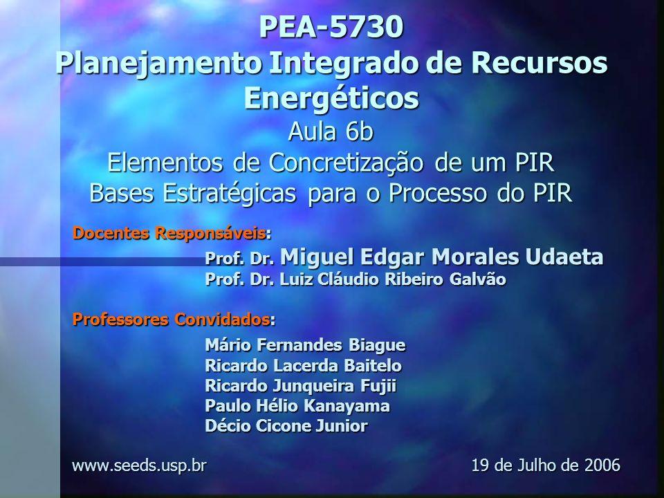 PEA-5730 Planejamento Integrado de Recursos Energéticos Aula 6b Elementos de Concretização de um PIR Bases Estratégicas para o Processo do PIR
