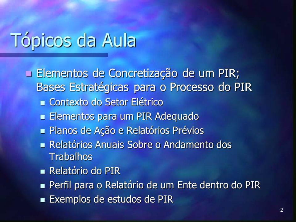 Tópicos da Aula Elementos de Concretização de um PIR; Bases Estratégicas para o Processo do PIR. Contexto do Setor Elétrico.