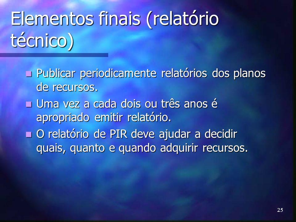 Elementos finais (relatório técnico)