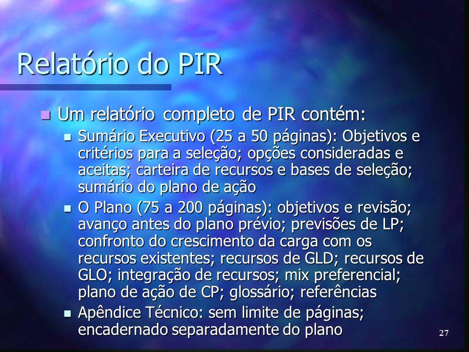 Relatório do PIR Um relatório completo de PIR contém: