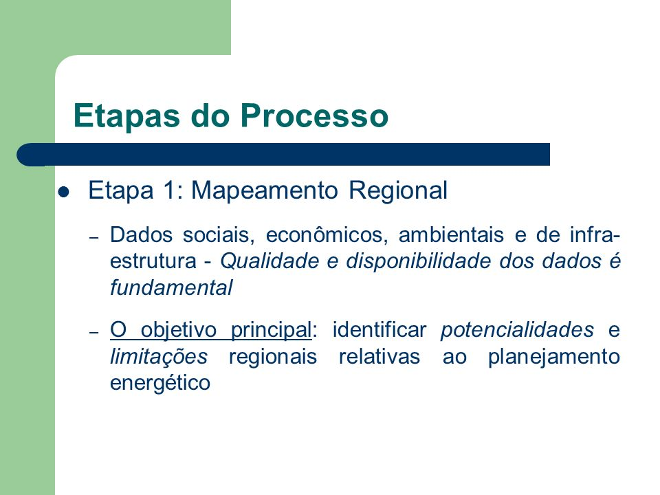 Etapas do Processo Etapa 1: Mapeamento Regional