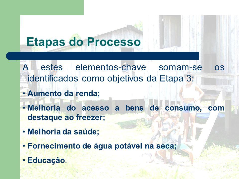 Etapas do Processo A estes elementos-chave somam-se os identificados como objetivos da Etapa 3: Aumento da renda;