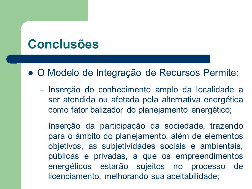 Conclusões O Modelo de Integração de Recursos Permite: