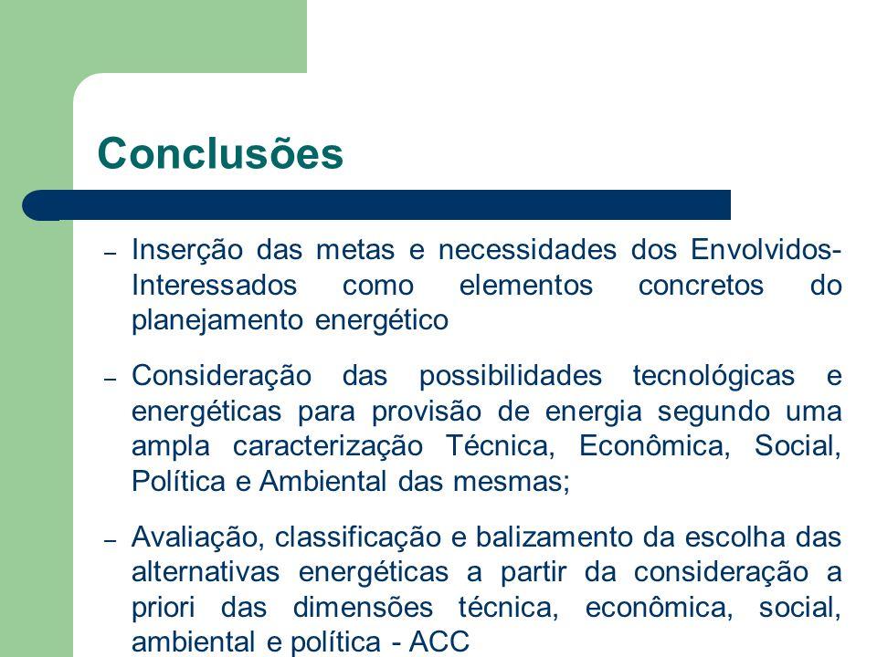 Conclusões Inserção das metas e necessidades dos Envolvidos- Interessados como elementos concretos do planejamento energético.
