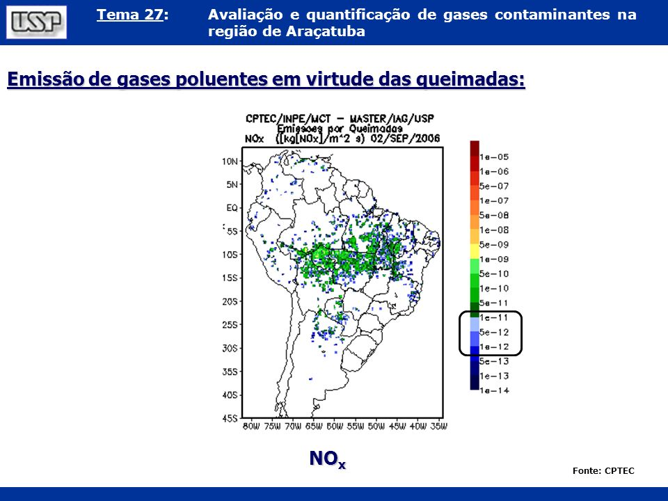 Emissão de gases poluentes em virtude das queimadas: