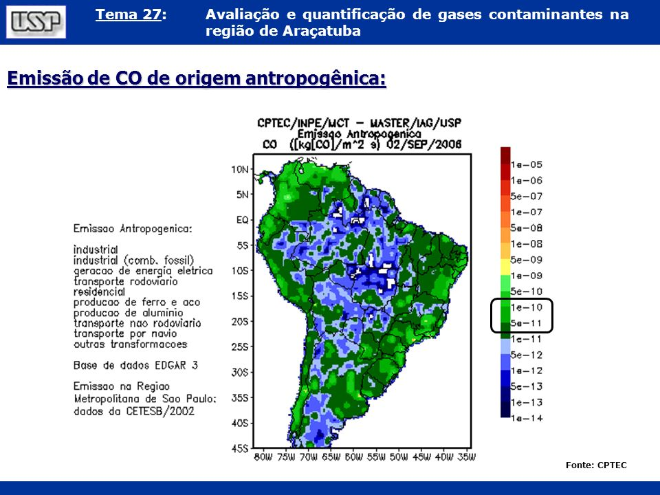 Emissão de CO de origem antropogênica: