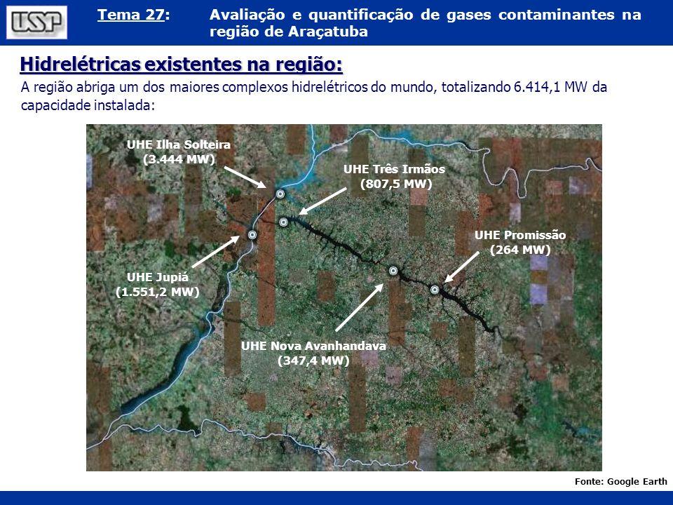 Hidrelétricas existentes na região: