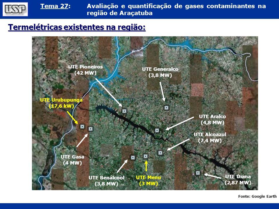Termelétricas existentes na região: