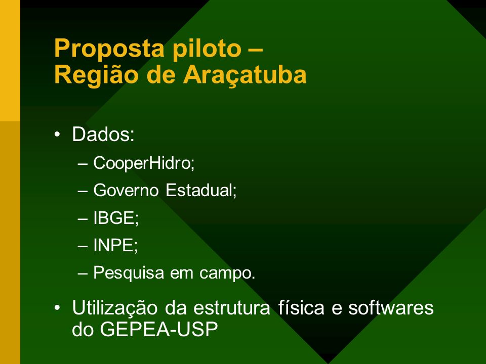 Proposta piloto – Região de Araçatuba