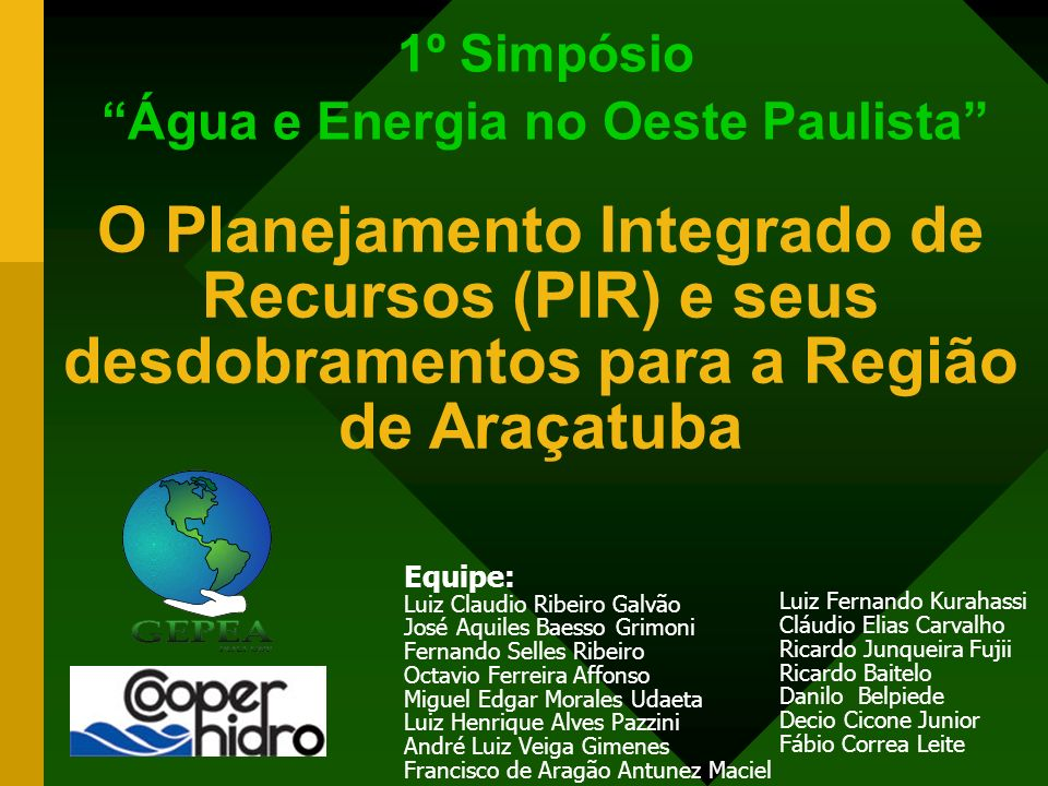 1º Simpósio Água e Energia no Oeste Paulista