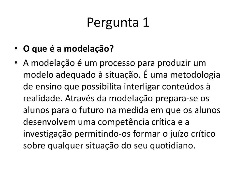 Pergunta 1 O que é a modelação