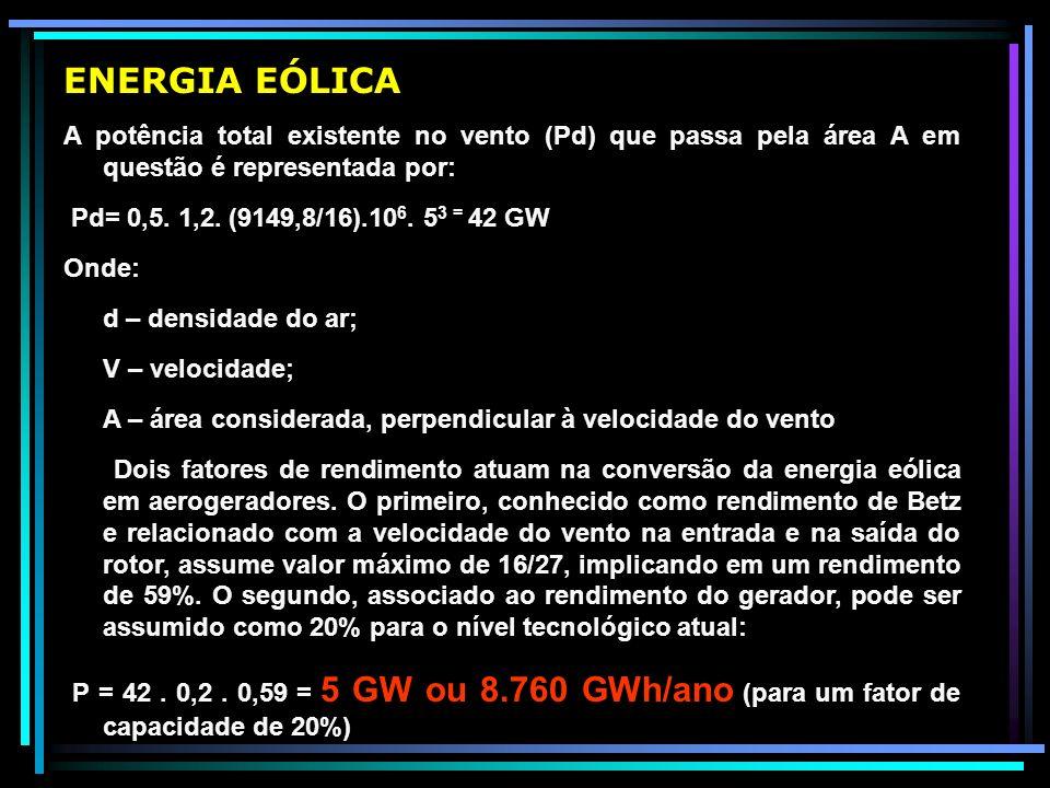 ENERGIA EÓLICA A potência total existente no vento (Pd) que passa pela área A em questão é representada por: