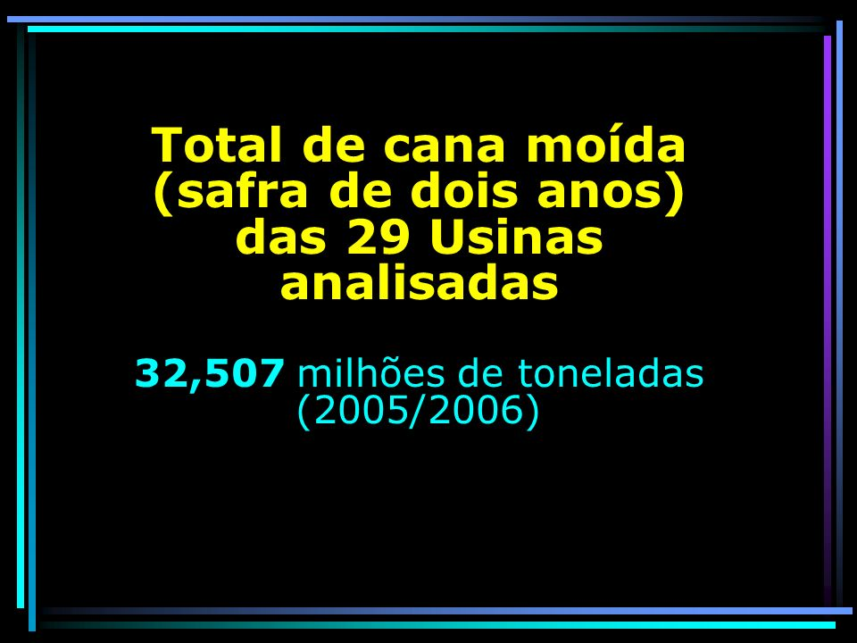 Total de cana moída (safra de dois anos) das 29 Usinas analisadas