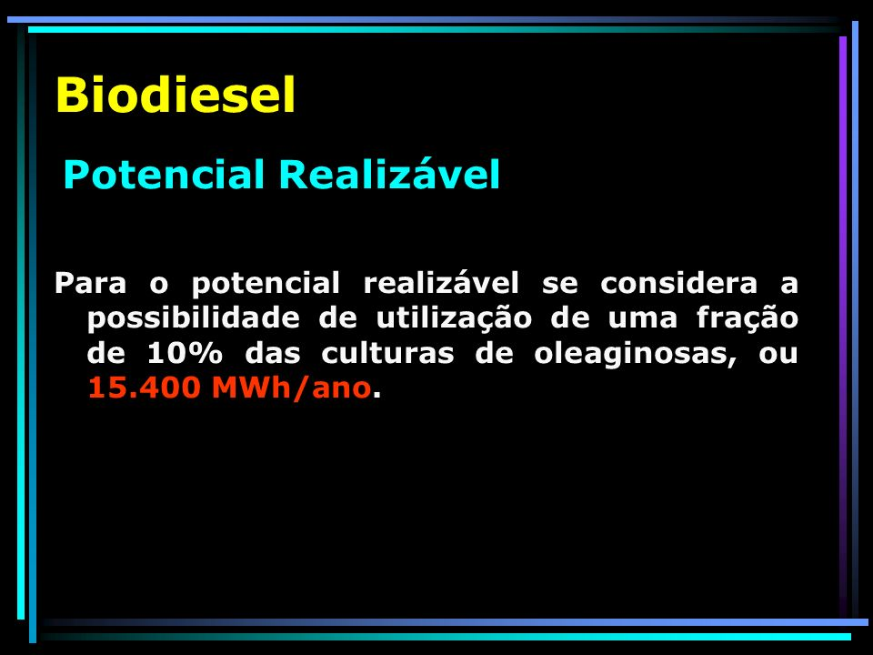 Biodiesel Potencial Realizável.