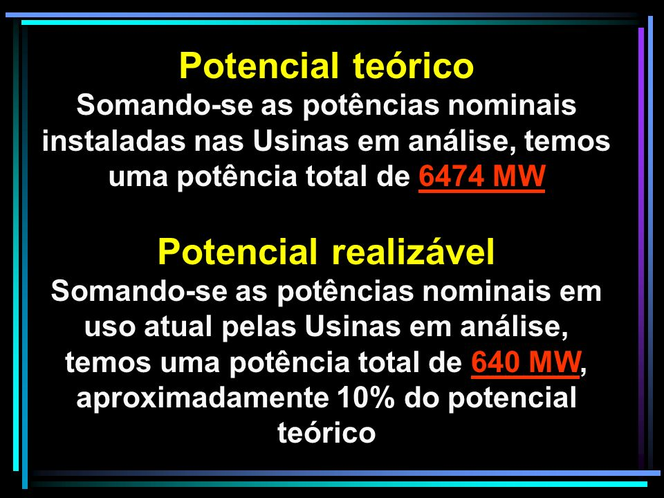 Potencial teórico Potencial realizável