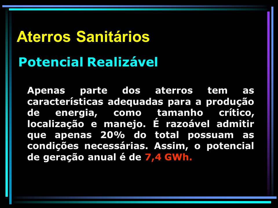 Aterros Sanitários Potencial Realizável.