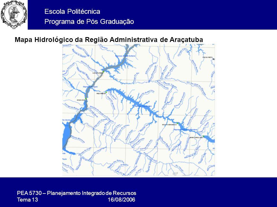 Mapa Hidrológico da Região Administrativa de Araçatuba