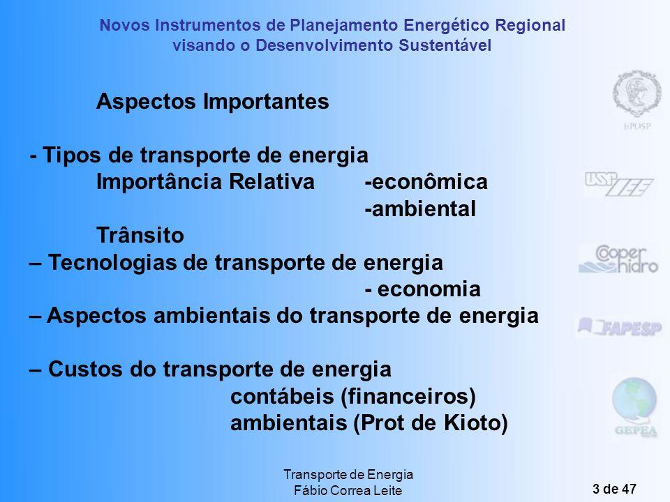 - Tipos de transporte de energia Importância Relativa -econômica