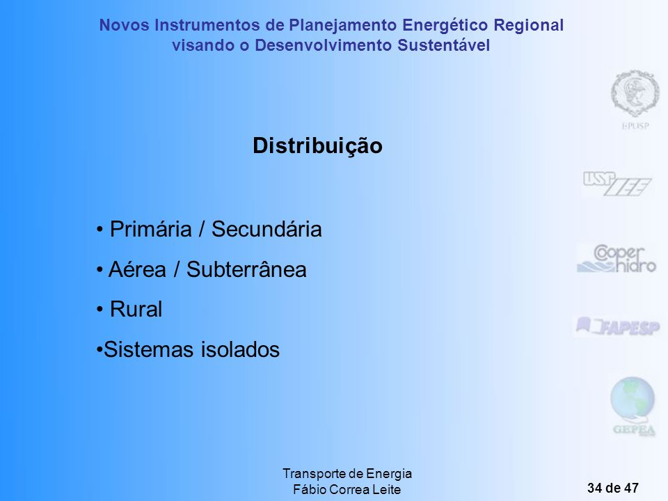 Distribuição Primária / Secundária Aérea / Subterrânea Rural