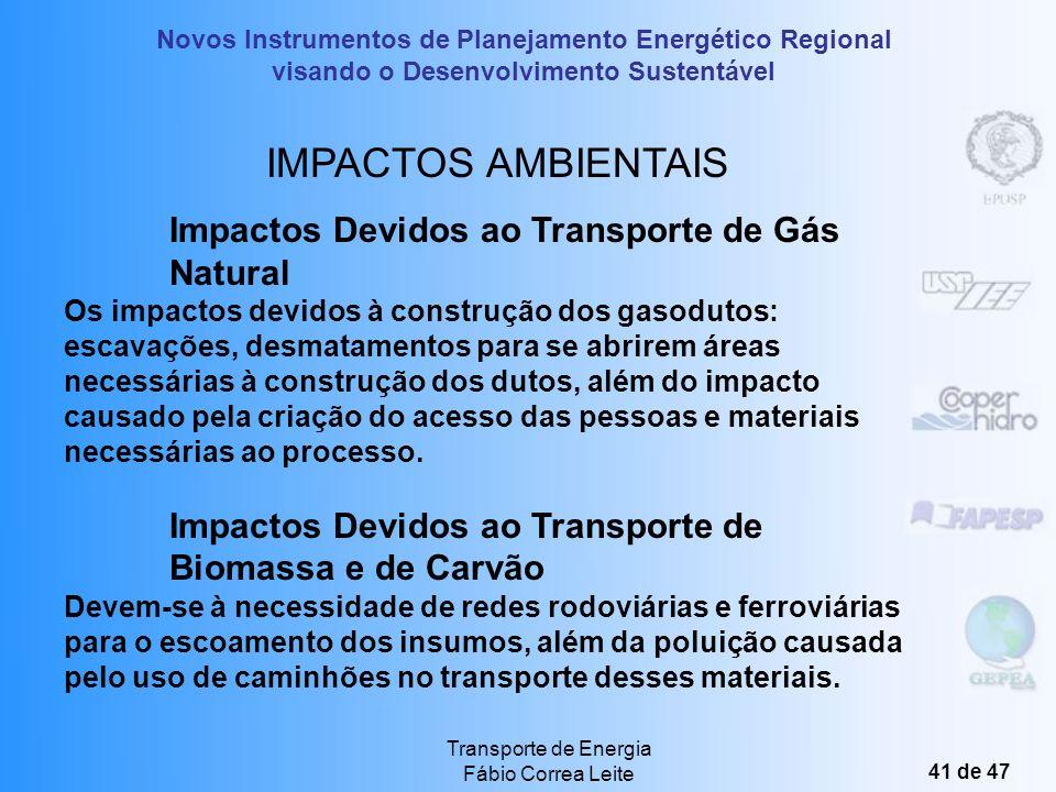 IMPACTOS AMBIENTAIS Impactos Devidos ao Transporte de Gás Natural