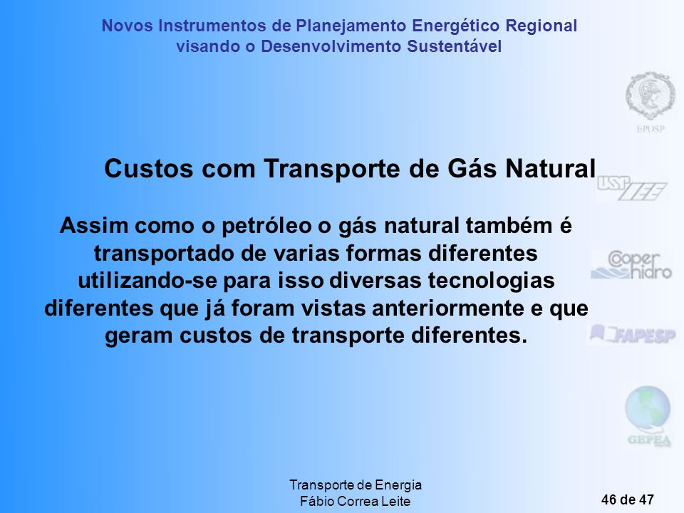 Custos com Transporte de Gás Natural