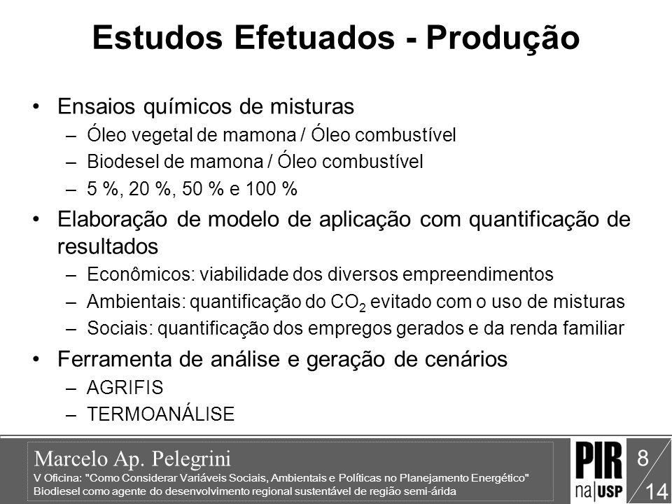 Estudos Efetuados - Produção