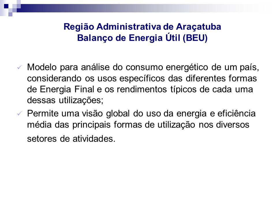 Região Administrativa de Araçatuba Balanço de Energia Útil (BEU)