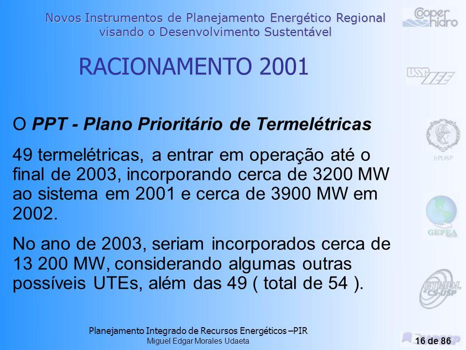 RACIONAMENTO 2001 O PPT - Plano Prioritário de Termelétricas