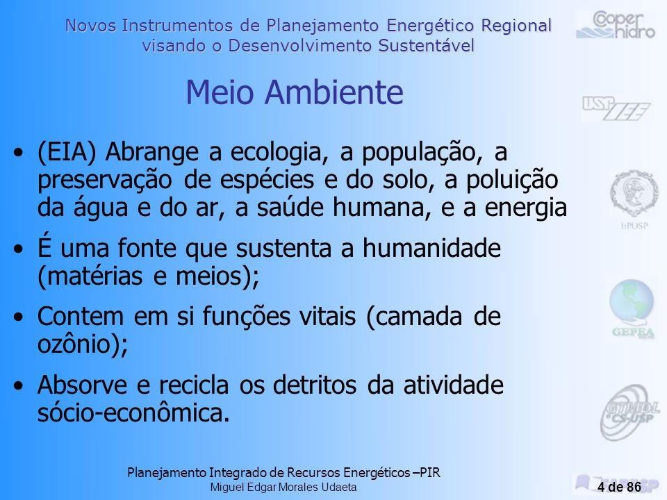 Meio Ambiente (EIA) Abrange a ecologia, a população, a preservação de espécies e do solo, a poluição da água e do ar, a saúde humana, e a energia.