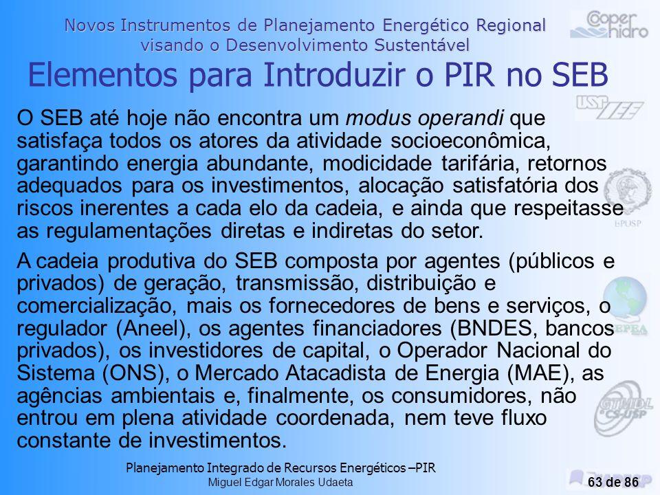 Elementos para Introduzir o PIR no SEB